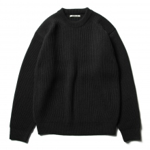 AURALEE / オーラリー | SUPER FINE WOOL RIB KNIT BIG P/O - Top Charcoal