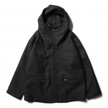 AURALEE / オーラリー | BLUEFACED WOOL DOUBLE CLOTH ZIP HOODIE - Mix Charcoal