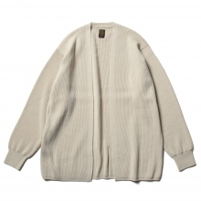 BATONER / バトナー | HARD TWIST WOOL NO BUTTON CARDIGAN (メンズ) - Ivory