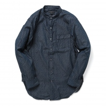 ENGINEERED GARMENTS / エンジニアドガーメンツ | Banded Collar Shirt - Polka Dot Chambray - Indigo
