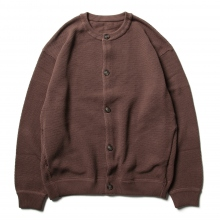 crepuscule / クレプスキュール | Moss stitch crew cardigan - Brown