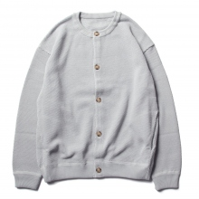 crepuscule / クレプスキュール | Moss stitch crew cardigan - L.Blue