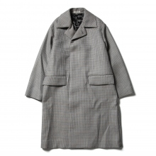 AURALEE / オーラリー | DOUBLE FACE CHECK SOUTIEN COLLAR COAT - Light  Blue Gunclub Check