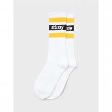 STUSSY / ステューシー | Stripe Crew Socks - White