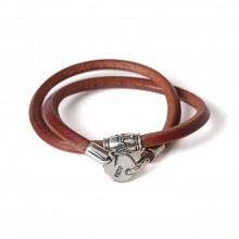 MOTO / モト | Leather Bracelet & Silver Pipe Beads LBC01 - Brown