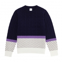 Mr.GENTLEMAN / ミスタージェントルマン|CABLE × NORDIC KNIT - Navy cable × White