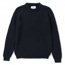 HABANOS / ハバノス | BIG WAFFLE COTTON KNIT - Navy