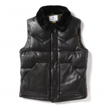 HABANOS / ハバノス | ALL LEATHER DOWN VEST - Black