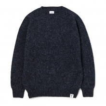 BEDWIN / ベドウィン | C-NECK SHAGGY KNIT SWEATER 「LECKIE」 - Charcoal