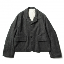 URU / ウル | WOOL DENIM / 4 BUTTON JACKET - Black