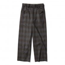 WOOL CHECK WIDE PANTS - Gray
