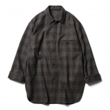 URU / ウル | WOOL CHECK OVER SHIRTS - Gray