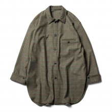 URU / ウル | WOOL CHECK OVER SHIRTS - Green