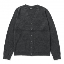 Meticulous Knitwear | Woodstock Cardigan - Solid / Floral Stitch - Charcoal