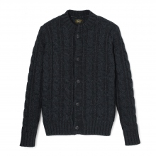 Stevenson Overall Co|Indigo Cable Knitted Cardigan - CC1 - Black Indigo
