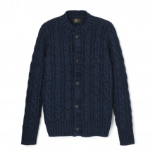 Stevenson Overall Co|Indigo Cable Knitted Cardigan - CC1 - Indigo