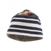 HABANOS / ハバノス|CAMO BORDER KNIT BEANIE - Navy×White