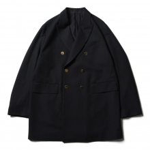 URU / ウル | WOOL POLYESTER SERGE / DOUBLE BREASTED JACKET - Navy