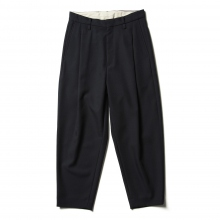 URU / ウル | WOOL POLYESTER SERGE / 1 TUCK PANTS - Navy