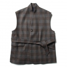 URU / ウル | WOOL CHECK BELTED VEST - Gray