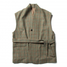 URU / ウル | WOOL CHECK BELTED VEST - Green