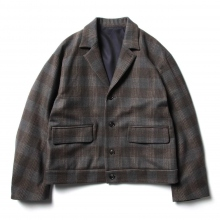 URU / ウル | WOOL CHECK SHORT JACKET - Gray