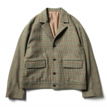 URU / ウル | WOOL CHECK SHORT JACKET - Green