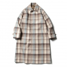 AURALEE / オーラリー | WOOL CHECK MELTON LONG SOUTIEN COLLAR COAT - Brown Check