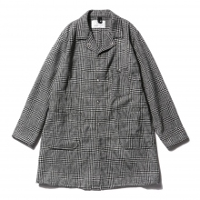 ....... RESEARCH | Long Jacket - Wool Glencheck - White × Black