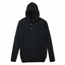 Stevenson Overall Co|Indigo Knit Hooded Sweatshirt - HP1 - Black Indigo