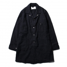 ....... RESEARCH | Long Jacket - Wool Glencheck - Navy × Black