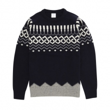 Mr.GENTLEMAN / ミスタージェントルマン | GEOMETRIC NORDIC KNIT - Navy