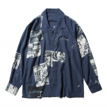 Porter Classic / ポータークラシック | ALOHA LONG SHIRT TIMES SQUARE - Navy