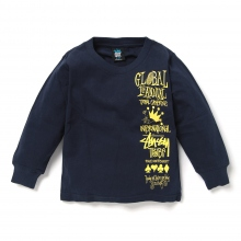 STUSSY KIDS / ステューシー キッズ | Kids Global Gathering L/SL Tee - Navy ★