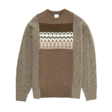 Mr.GENTLEMAN / ミスタージェントルマン | FISHERMAN MIX NORDIC KNIT - Beige × Greige