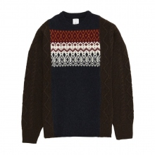 Mr.GENTLEMAN / ミスタージェントルマン | FISHERMAN MIX NORDIC KNIT - Navy × Brown