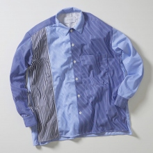 CURLY / カーリー | CLOUDY L/S SHIRTS Panel Stripe - Blue / Navy