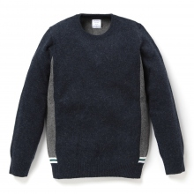 Mr.GENTLEMAN / ミスタージェントルマン | LINE RIB KNIT - Navy × Grey
