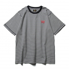 Needles / ニードルズ | S/S Papillon Emb. Tee - Cotton Jersey / Stripe - Off White
